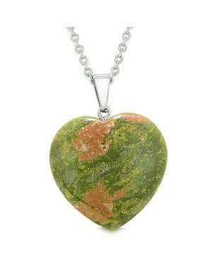 Lucky Puffy Heart Charm Crystal Unakite Spiritual Protection Powers Amulet Pendant 22 Inch Necklace