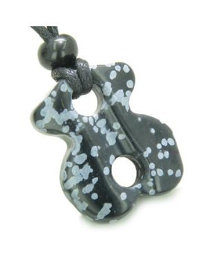 Infinity Magic Powers Celtic Knot Charm Evil Eye Protection Amulet Snowflake Obsidian Necklace