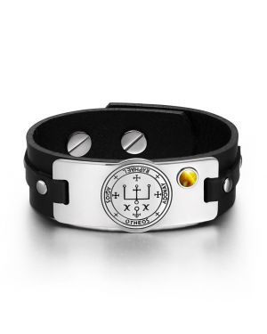 Archangel Raphael Sigil Magic Powers Amulet Tag Tiger Eye Gemstone Black Leather Bracelet