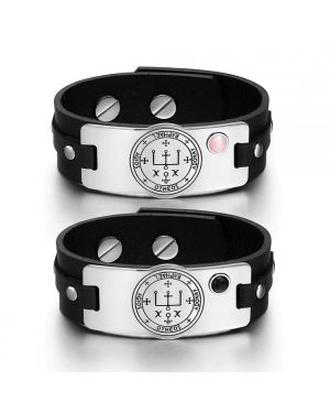 Archangel Raphael Sigil Love Couples Pink Simulated Cats Eye Simulated Onyx Black Leather Bracelets