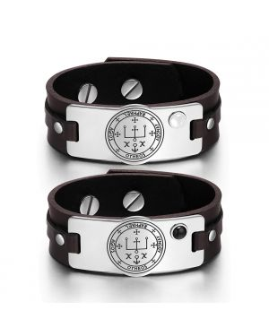 Archangel Raphael Sigil Love Couples White Simulated Cat Eye Simulated Onyx Brown Leather Bracelets