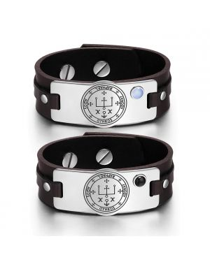 Archangel Raphael Sigil Love Couples Blue Simulated Cats Eye Simulated Onyx Brown Leather Bracelets