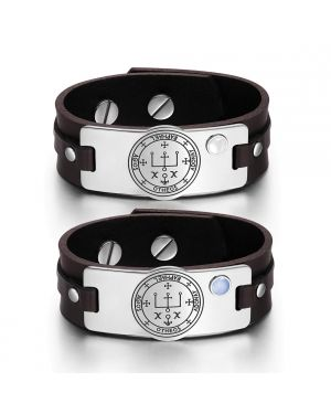 Archangel Raphael Sigil Love Couples White Blue Simulated Cats Eye Amulet Brown Leather Bracelets