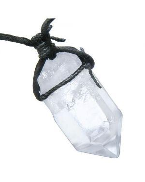 Amulet Brazilian Large Rough Rock Quartz Healing Powers Crystal Point Charm Pendant Necklace