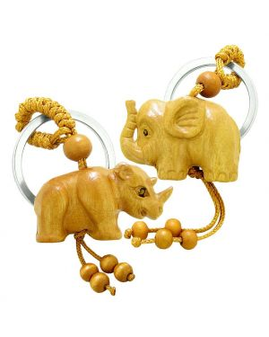 Amulet Baby Elephant and Rhino Good Luck Charm Protection Powers Feng Shui Magic Keychain Blessings