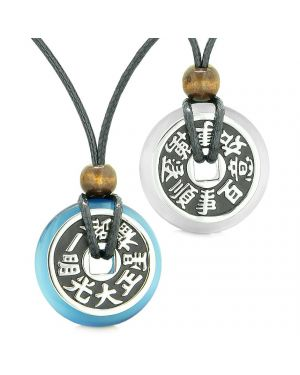 Amulets Large Reversible Fortune Coins Love Couples Yin Yang Sky Blue White Cats Eye Necklaces