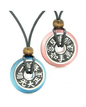 Amulets Large Reversible Fortune Coins Love Couples Yin Yang Sky Blue Pink Cats Eye Necklaces