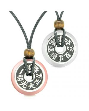 Amulets Large Reversible Fortune Coins Love Couples Yin Yang Pink White Cats Eye Necklaces
