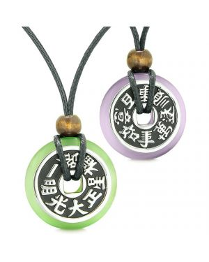 Amulets Large Reversible Fortune Coins Love Couples Yin Yang Purple Green Cats Eye Necklaces