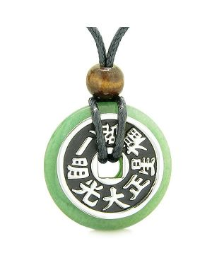 Large Double Lucky Reversible Fortune Coin Donut Green Quartz Feng Shui Powers Pendant Necklace