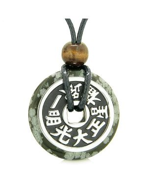 Large Double Lucky Reversible Fortune Coin Donut Snowflake Obsidian Feng Shui Pendant Necklace