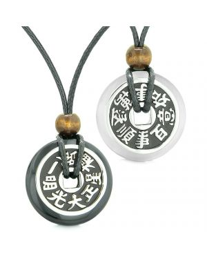 Amulets Large Reversible Fortune Coins Love Couples Yin Yang Black Agate White Cats Eye Necklaces