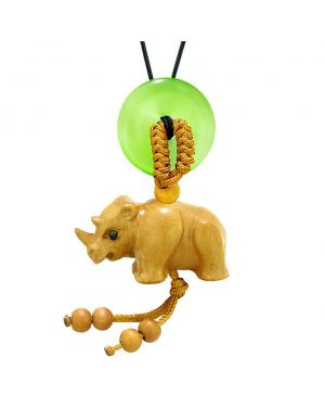 Baby Rhino Cute Good Luck Car Charm or Home Decor Green Simulated Cats Eye Lucky Coin Donut Magic Amulet