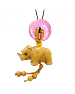 Baby Rhino Cute Good Luck Car Charm or Home Decor Pink Simulated Cats Eye Lucky Coin Donut Magic Amulet