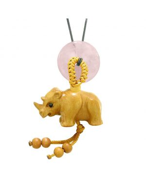 Baby Rhino Cute Good Luck Car Charm or Home Decor Rose Quartz Lucky Coin Donut Protection Magic Amulet