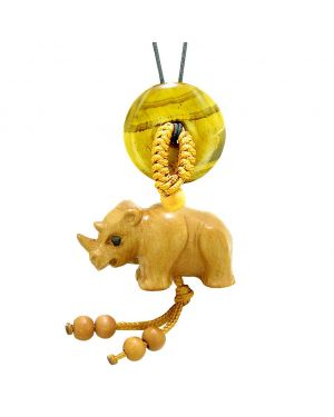 Baby Rhino Cute Good Luck Car Charm or Home Decor Tiger Eye Lucky Coin Donut Protection Magic Amulet
