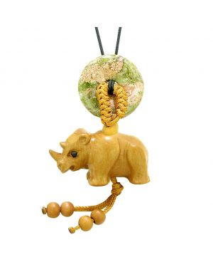 Baby Rhino Cute Good Luck Car Charm or Home Decor Unakite Lucky Coin Donut Protection Magic Amulet