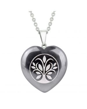 Amulet Tree of Life Magical Powers Protection Energy Hematite Puffy Heart Pendant 22 Inch Necklace