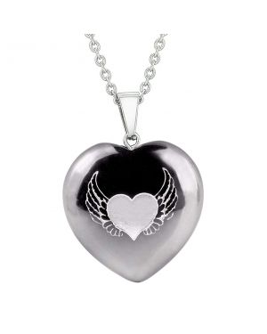 Amulet Angel Wings Heart Love Powers Protection Energy Hematite Puffy Heart Pendant Necklace