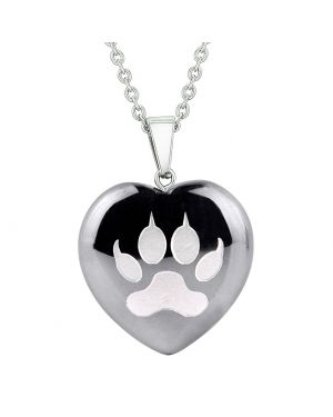 Amulet Wolf Paw Courage Magical Powers Protection Energy Hematite Puffy Heart Pendant Necklace