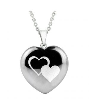 Amulet United Hearts Love Powers Protection Energy Hematite Puffy Heart Pendant Necklace