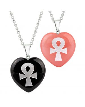 Heart Amulets Ankh Egyptian Powers of Life Couples Best Friends Agate Simulated Quartz Necklaces