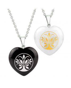 Heart Amulets Tree of Life Magical Powers Love Couples Best Friends Agate White Quartz Necklaces