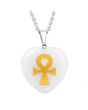 Amulet Ankh Egyptian Powers of Life Magic Energy Snowflake Quartz Puffy Heart Pendant Necklace