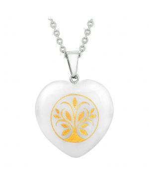 Amulet Tree of Life Magic Powers Protection Energy Snowflake Quartz Puffy Heart Pendant Necklace