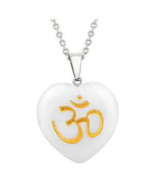 Amulet Ancient OM Ohm Egyptian Power Protect Energy Snowflake Quartz Puffy Heart Pendant Necklace