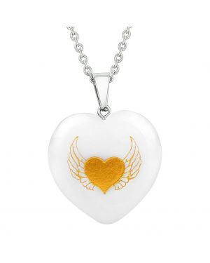 Amulet Angel Wings Heart Love Powers Protect Energy Snowflake Quartz Puffy Heart Pendant Necklace