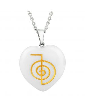 Amulet Choku Rei Reiki Magic Powers Protect Energy Snowflake Quartz Puffy Heart Pendant Necklace