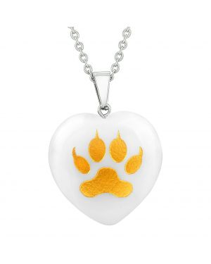 Amulet Wolf Paw Courage Magic Powers Protect Energy Snowflake Quartz Puffy Heart Pendant Necklace