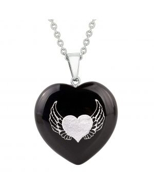 Amulet Angel Wings Heart Love Powers Protection Energy Black Agate Puffy Heart Pendant Necklace