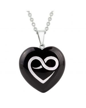 Amulet Infinity Eternity Heart Love Power Protect Energy Black Agate Puffy Heart Pendant Necklace