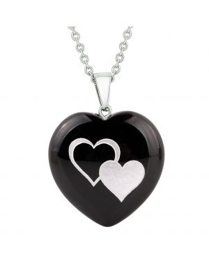 Amulet United Hearts Love Powers Protection Energy Black Agate Puffy Heart Pendant Necklace