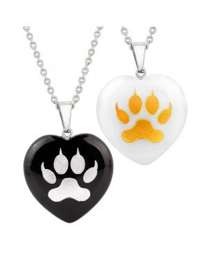 Heart Amulets Wolf Paw Courage Magical Love Couples Best Friends Agate White Quartz Necklaces