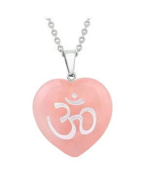 Amulet Ancient OM Ohm Egyptian Powers Protection Energy Rose Quartz Puffy Heart Pendant Necklace