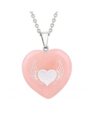 Amulet Angel Wings Heart Love Powers Protect Energy Rose Quartz Puffy Heart Pendant Necklace