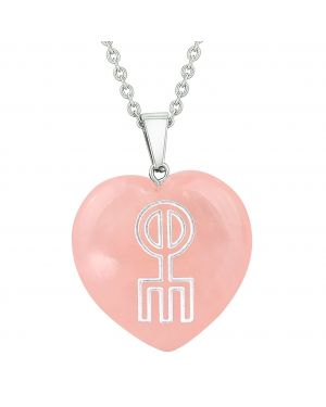Amulet Norse Rune Love Spell Magic Powers Protect Energy Rose Quartz Puffy Heart Pendant Necklace