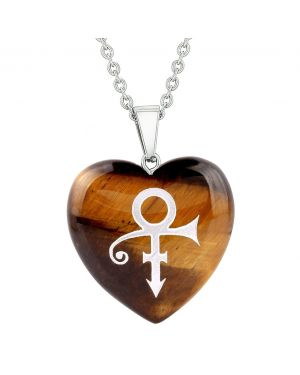 Amulet Ancient Rebirth Magical Powers Protection Energy Tiger Eye Puffy Heart Pendant Necklace