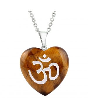 Amulet Ancient OM Ohm Egyptian Powers Protection Energy Tiger Eye Puffy Heart Pendant Necklace