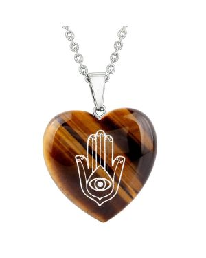 Amulet Hamsa Hand Magical Powers Protection Energy Tiger Eye Puffy Heart Pendant 18 Inch Necklace