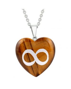 Amulet Infinity Magical Unity Powers Protection Energy Tiger Eye Puffy Heart Pendant Necklace