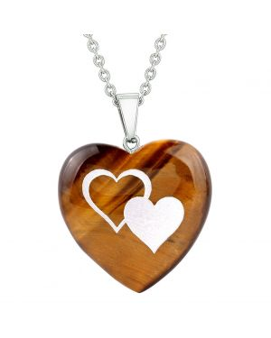 Amulet United Hearts Love Powers Protection Energy Tiger Eye Puffy Heart Pendant Necklace
