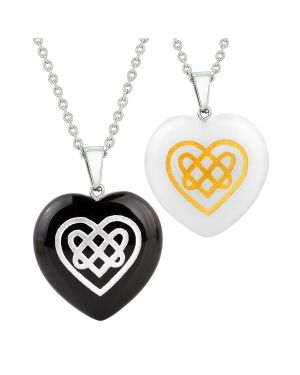 Heart Amulets Celtic Shiled Knot Magic Powers Love Couple Best Friends Agate White Quartz Necklaces