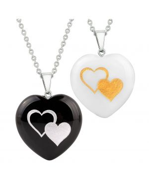 Heart Amulets United Hearts Protection Love Couples Best Friends Set Agate White Quartz Necklaces