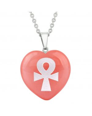 Amulet Ankh Egyptian Powers of Life Energy Cherry Simulated Quartz Puffy Heart Pendant Necklace