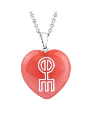 Amulet Norse Rune Love Spell Magic Powers Cherry Simulated Quartz Puffy Heart Pendant Necklace