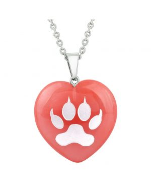 Amulet Wolf Paw Courage Magic Powers Energy Cherry Simulated Quartz Puffy Heart Pendant Necklace